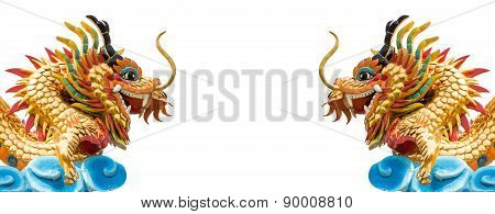 Twin Dragons Statue On Isolated Background