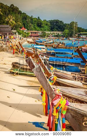 Thai Traditional Boats On Phi-phi Islands,thailand