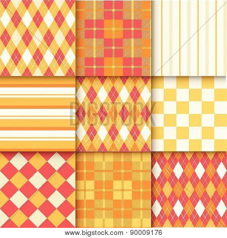 Set Of Seamless Backgrounds With Pattern Striped, Chess, Checkered.