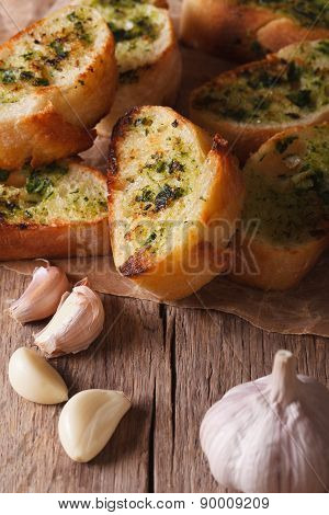 Toast With Fresh Herbs And Garlic Closeup. Vertical