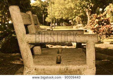A Rustic Bench in the Park