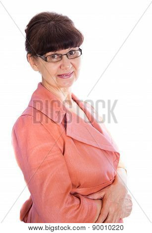 Pension age good looking woman portrait