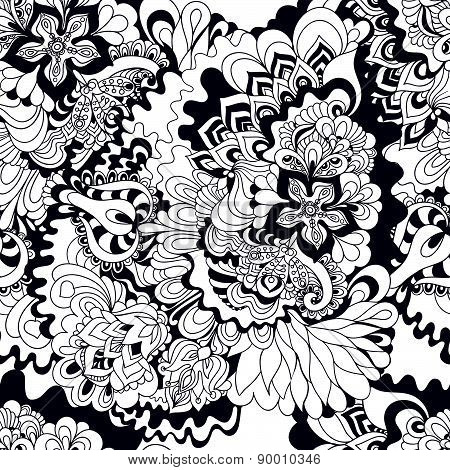 Seamless Abstract Hand-drawn Floral Background.