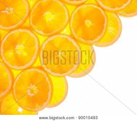 Diagonal from orange slices on white background