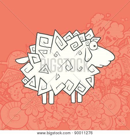 Vector Illustration Cute Hand Drawn Sheep. Greeting card New Year.