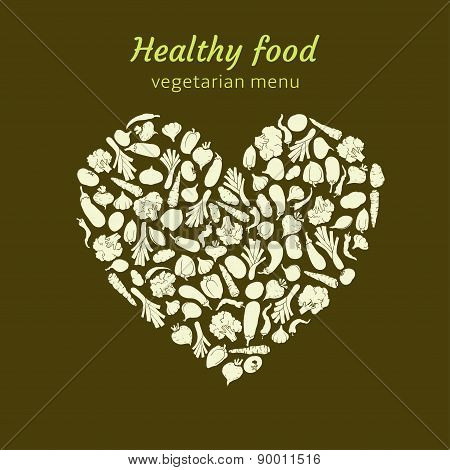 a heart of silhouette of healthy veggies