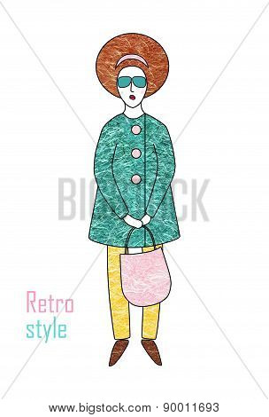 Elegant Fashionable Woman In A Coat And Trousers. Retro Style.
