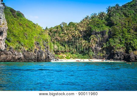 Tropical Island With Resorts - Phi-phi Island, Krabi Province, Thailand.