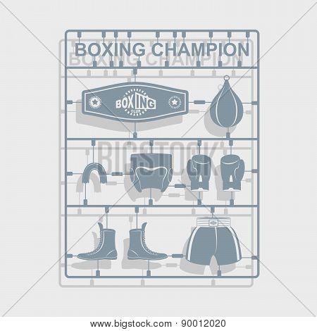 Set Boxing equipment. Plastic model kits. Vector illustration