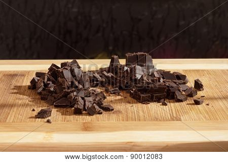 Granulated brown delicious sweet chocolate