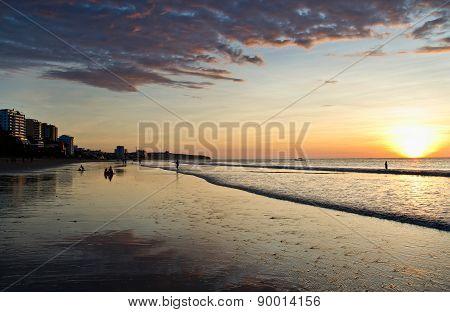 Colorful sunset at the beach in Manta, Ecuador