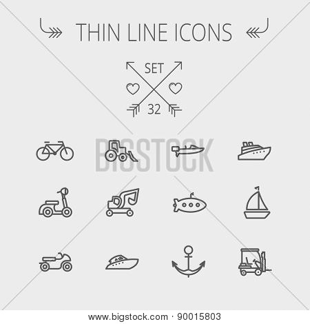 Transportation thin line icon set for web and mobile. Set includes- golf cart, trucks, motor, boat, submarine, anchor icons. Modern minimalistic flat design. Vector dark grey icon on light grey