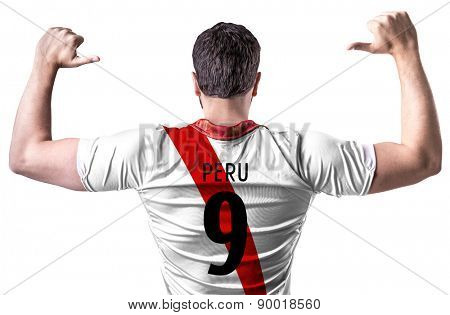 Peruvian soccer player on white background