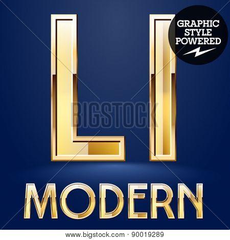 Vector set of modern golden glossy font. Letter L