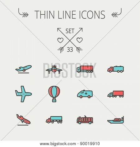 Transportation thin line icon set for web and mobile. Set include- fire truck, trucks, plane, ships, hot air balloon icons. Modern minimalistic flat design. Vector icon with dark grey outline and
