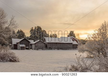 Group Of Old Snowy Farm Houses