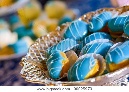 Cakes With Blue Marzipan