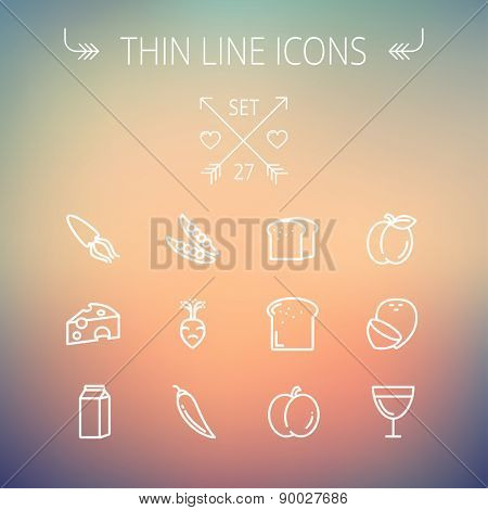 Food and drink thin line icon set for web and mobile. Set includes- fresh milk, bread, cheese, squid icons. Modern minimalistic flat design. Vector white icon on gradient mesh background.