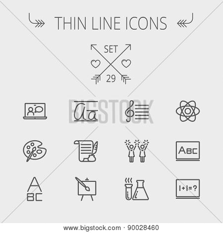 Education thin line icon set for web and mobile. Set includes- palette and paint brush, alphabet, notepad, chart, cheerleaders, medical, supplies icons. Modern minimalistic flat design. Vector dark