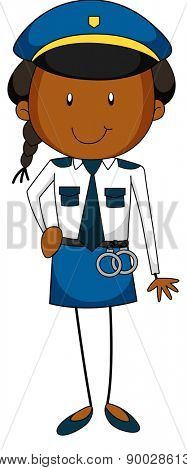 Happy policewoman in the uniform with handcuff