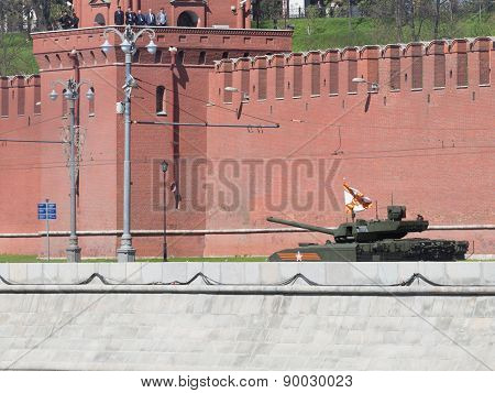 Armata Tank Decorated With Ribbon St. George