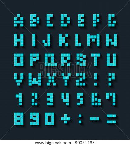 Flat Pixel Font With Shadow Effect.