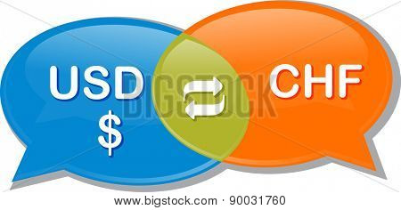 Illustration concept clipart speech bubble dialog conversation negotiation of currency exchange rate USD CHF Swiss Franc Dollar vector