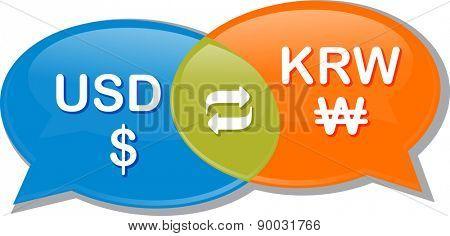 Illustration concept clipart speech bubble dialog conversation negotiation of currency exchange rate USD KRW Dollar Korean Won vector
