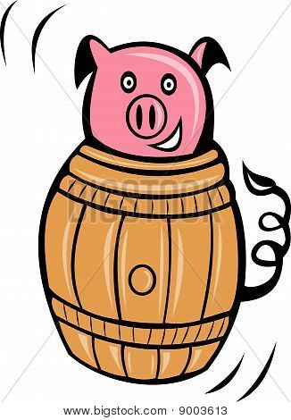 pig pork stuck in barrel