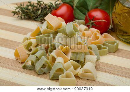 Raw Heart-shaped Pasta