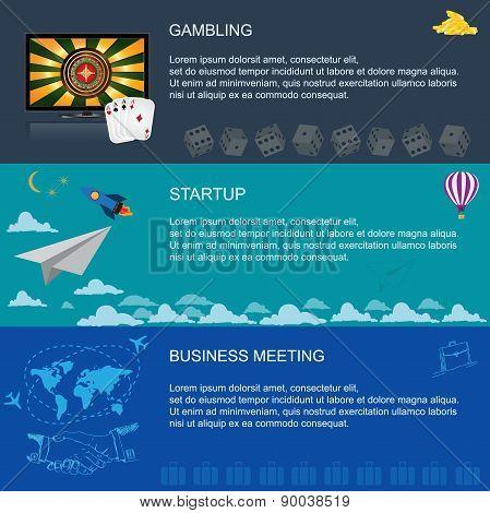 startup, business meeting, gambling, vector, illustration, flat