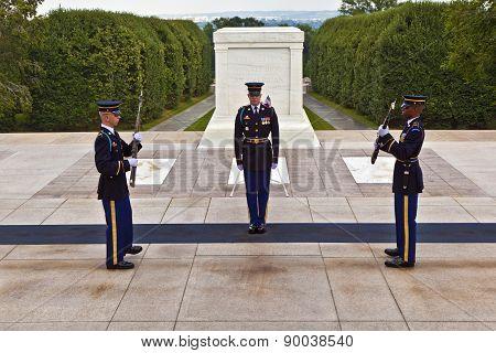Changing The Guard At Arlington National Cemetery In Washington
