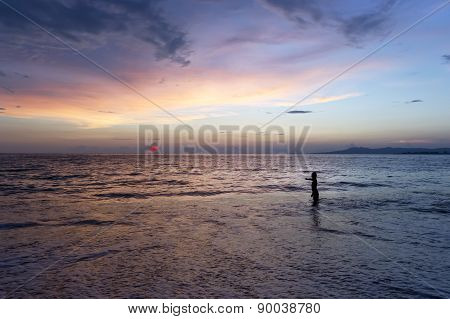 Boy And Ocean Sunset Fantasy
