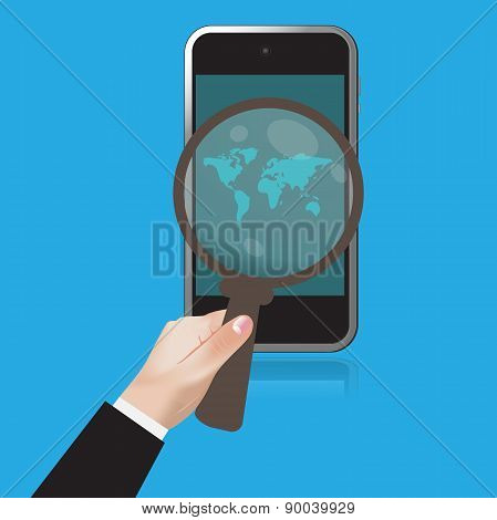 flat, design, hand, mobile, magnifying, vector, illustration