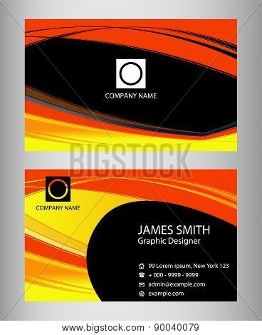 Dark red and yellow business card
