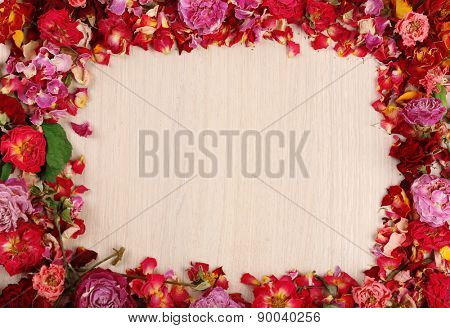 Frame of beautiful dry flowers on wooden background