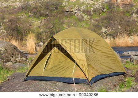 Touristic tent on nature background