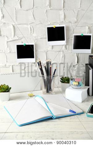 Stylish workplace at home or studio