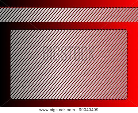 Red background with silver frame
