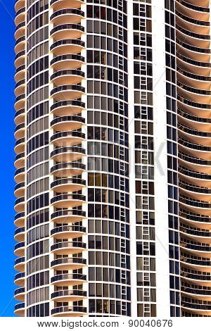 Balconies Of Skyscrapers  At Beautiful Sunny Islands, Miami