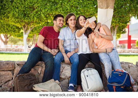 College Friends Taking Selfie