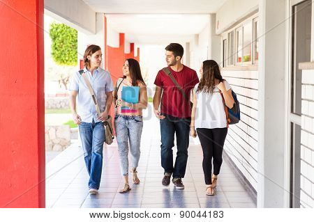 College Students Walking Together