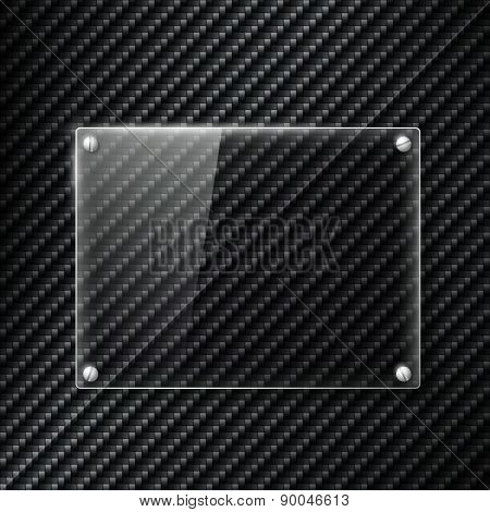 Glass Signboard On The Surface Of Carbon Fiber