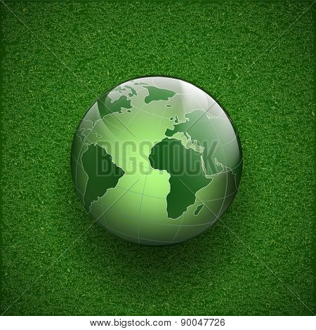 Planet Earth On The Grass.