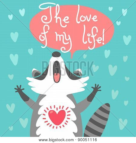 Cute raccoon confesses his love.