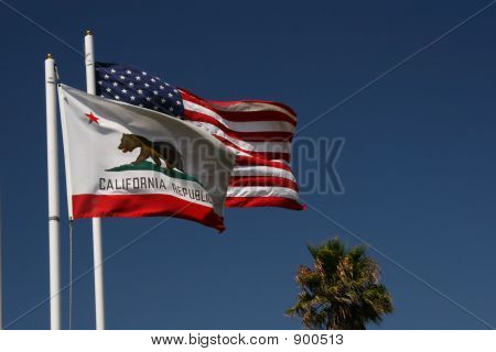 California And U.S. Flags