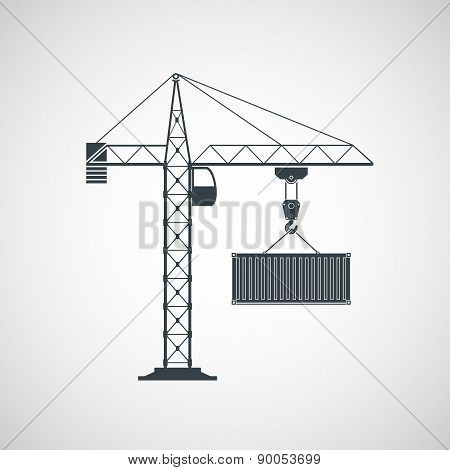 The crane lifts the container. Vector image. poster