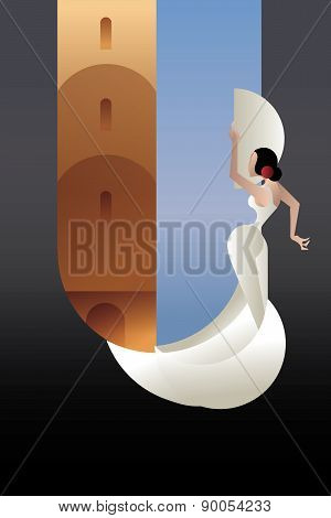 styled Spain Flamenco dancer on sity landscape