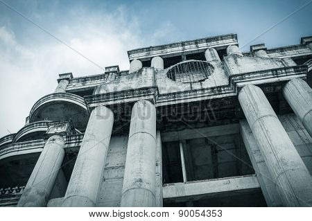 Abandoned Building Can Use Horror Movie Scene Background, Low Angle Shot