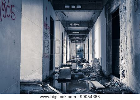 hallway walkway abandoned building can use horror movie scene background poster